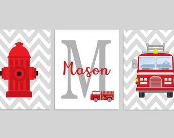 Fireman Nursery Art  Firefighter Decor  Kids Firefighter Room  Baby Boy  Monogram  FireFirefighter decor   Etsy. Firefighter Room Decorations. Home Design Ideas