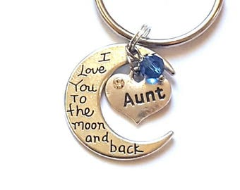 Personalized Aunt Gift Aunt Keychain Love you to the moon and back Aunt