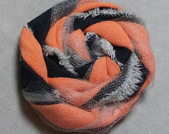 Shappy Chic Rosette - Frayed Denim,Muted Orange and Tulle