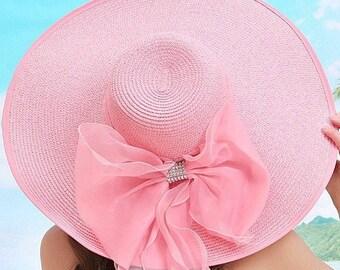 Kentucky Derby Hat, Wide Brim Kentucky Derby Hat, Pink Wide brim hat, floppy hat,  Large Brim Hat, Big Hat, Floppy Derby Hat, Church Hat