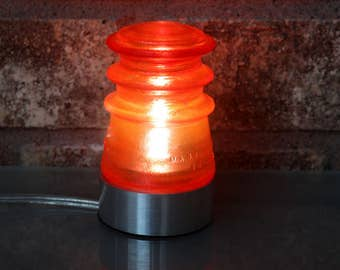 "Pepper Red Glass Insulator Lamp w 2 1/2"" Aluminum Base - Industrial Lighting - Man Cave Decor- Coastal Living Style"