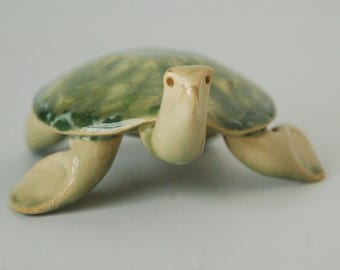 Sea turtle green glazed ceramic comes with poem