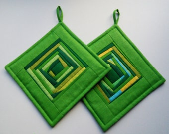 Geen Quilted Pot Holders Quilted Potholders  Patchwork Potholders Set of 2