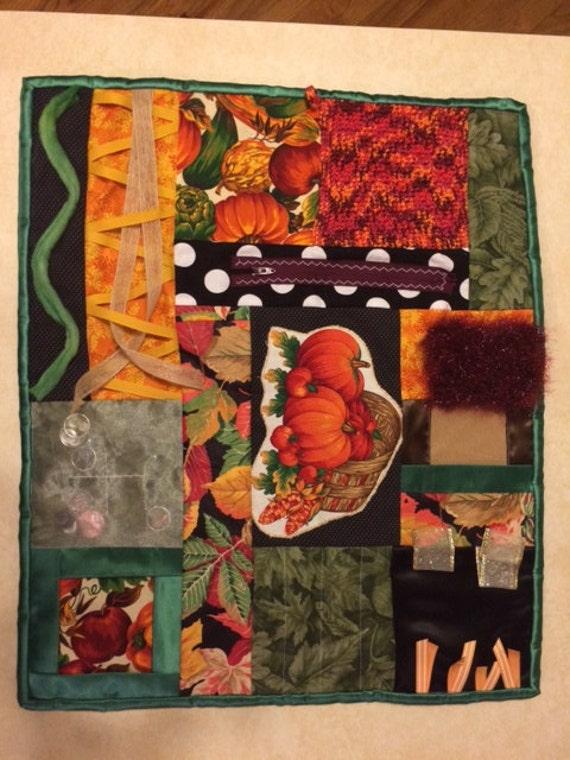 Fidget Quilt  / Sensory Blanket / - Pumpkin Patch