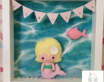 Personalised Decorative Felt Frame Shadowbox with Mermaid Felt Doll Underwater