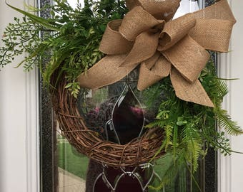 Floral grapevine wreath, Mother's Day wreath, spring wreath, summer wreath