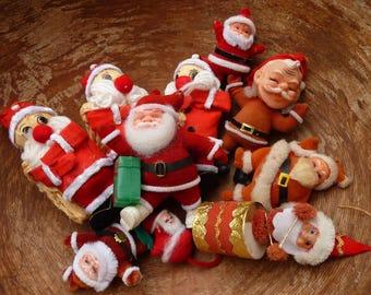 10 Flocked Santas Vintage Santa Christmas Craft Lot Decor Retro Supply (#580)