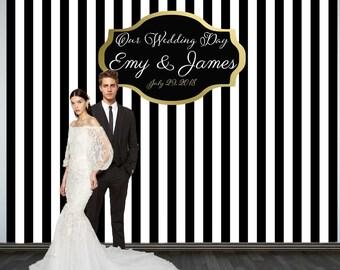 Wedding Photo Backdrop Custom Party Personalized Black And White
