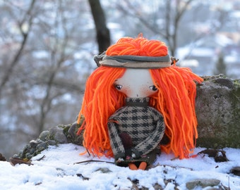 Pixie elf doll - Woodland  girl - Elf doll - Handmade doll - Textile toy - Halloween doll- Exrime primitive - Fantasy doll.