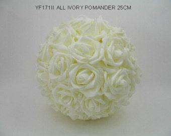Artificial Ivory Rose Pomander - 25cm