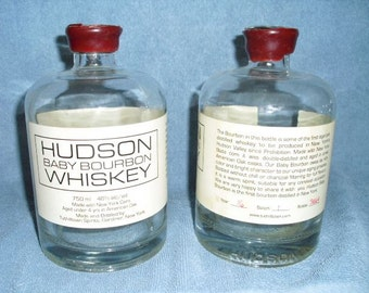 2 Hudson Baby Bourbon Whiskey Bourbon 750ml Empty Recycled Liquor Bottles Sequentially Numbered