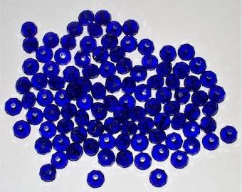 33 Faceted Cobalt Blue Crystal Glass Rondells - 6x4MM