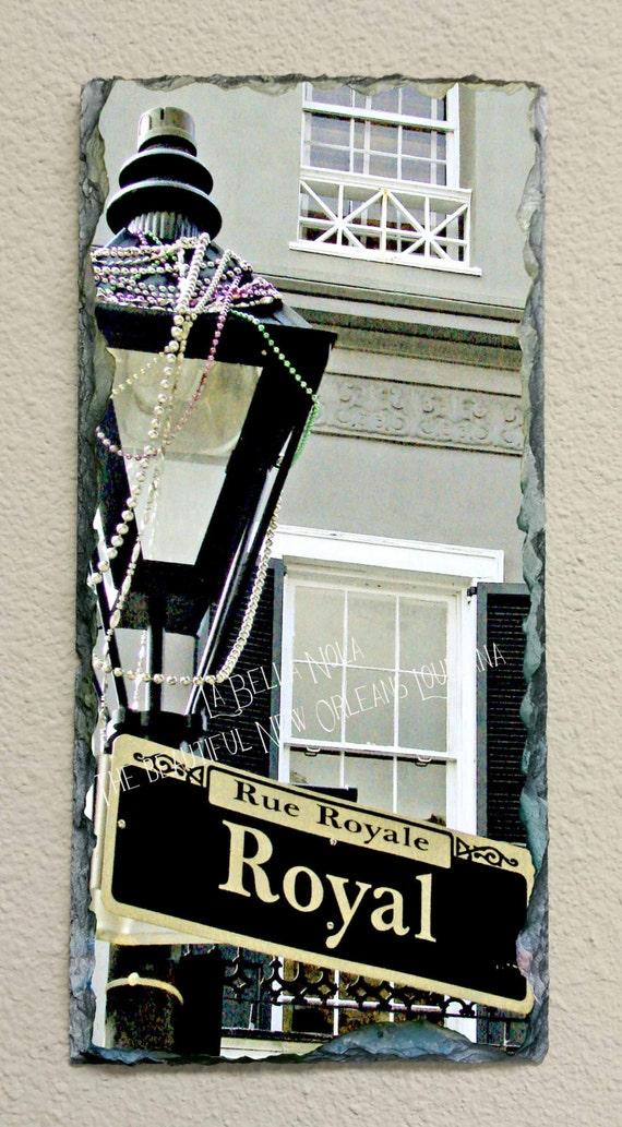 Royal Street Gas Lamp 047 Slate New Orleans Art Slate