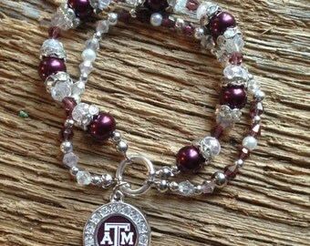 Texas A & M Aggies crystal bracelet: Texas A and M bracelet, ATM Aggies bracelet, Aggies jewelry,  double strand Aggies bracelet