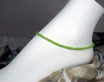 "Green Beaded Anklet - Czech Glass - Lime Green Ankle Bracelet - Girls Size - Plus  Size - Summer Jewelry - 7"", 8"", 9"", 10"", 11"", 12"", 13"""