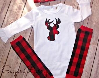 Baby girl Christmas outfit, Deer head applique, leg warmers, buffalo plaid, Infant bodysuit leg warmers, knotted headband, buffalo check
