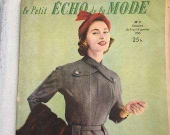 Vintage Le Petit Echo de la Mode French Magazine No 2 Semaine January 1955