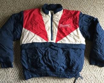 Vintage Mens MLB Baseball Atlanta Braves Puff Winter Jacket Coat Size XL