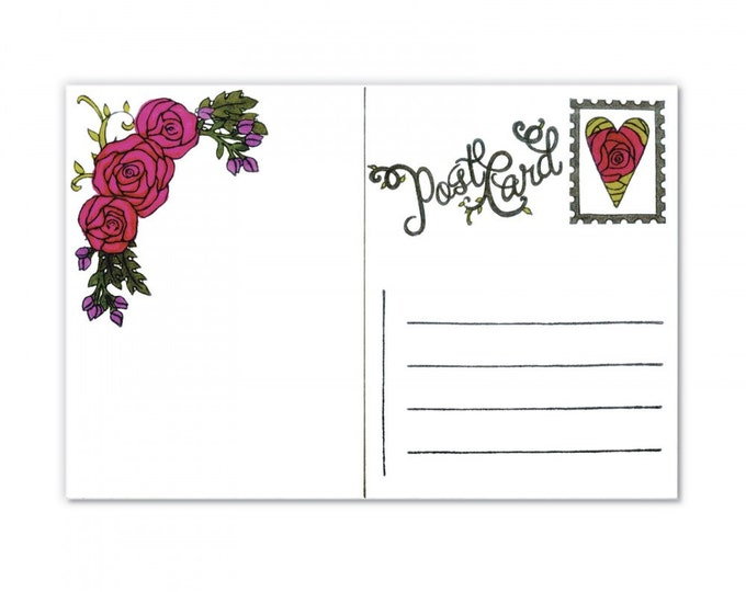 New! Sizzix Clear Stamps - In Bloom Postcard Set by Jen Long