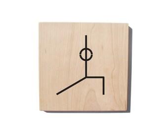 Wood Wall Art: Yoga Pose - Warrior I Pose