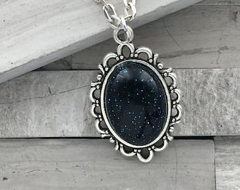Shimmer glimmer navy blue pendant