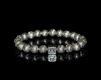 Men's Sterling Silver Bracelet, Bracelets for Men, Silver Beads Bracelet, Bracelets Men, Beads Bracelet, Mans Bracelet, Bead Bracelets Men