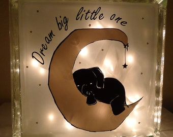 Dream Big Little One Baby Elephant Nursery Lamp