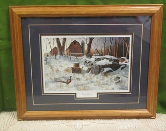 WINTER HAVEN Print by Jim Hansel * Framed and matted under glass** 20 3/4 by 16  3/4 inches, wildlife
