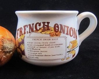 French onion soup bowl, soup bowl, French onion recipe, french country, shabby chic bowl, white bowl, vintage handled bowl