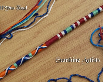Tribal hair jewelry, blood red, burnt orange, mint green, navy blue, sky blue, sparkly silver blue, star bead, barrel bead - 'Hypno toad'