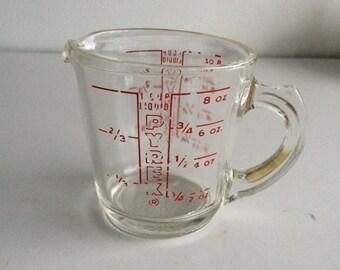 Vintage Pyrex D Handle Measuring Cup Red Lettering Measuring Cup 8 oz. #508