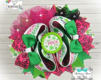 St. Patrick's Day OTT Hair Bow ~ Stacked Boutique Bow ~ Over the top hairbows