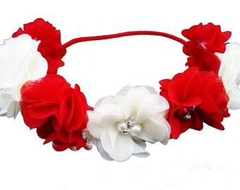 Red Flower Crown Headband/Flower Crown Headband/Flower Headband Wedding/Baby Girl Headband/Girl Headband Baby/Toddler Headband/Baby Romper
