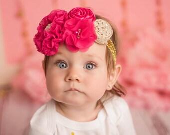 Hot Pink Headband/Baby Headband/Baby Headband and Bow/Infant Headband/Baby Girl Headband/Girl Headband Baby/Toddler Headband/Photo Prop Baby