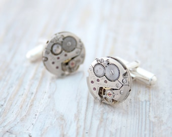 Modern Cufflinks with Steampunk watch movements and Sterling Silver/ Luxurious Xmas Gifts for Men/ Silver Cuff Links
