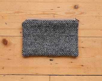 100% Wool Tweed Pouch - Grey and Black Herringbone - Zipped Accessory bag
