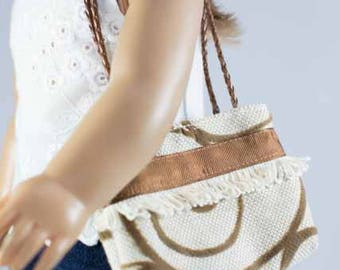 Purse Bag Satchel in Beige with Cocoa Brown Swirl Design and Ribbon and Fringe Trim for American Girl or 18 Inch Doll