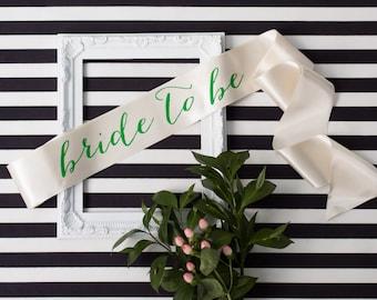 Bachelorette Sash - Green Velvet on Ivory