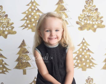 CLEARANCE 40% OFF - 7ft x 7ft Gold Christmas Tree Photography Backdrop - Vinyl Christmas Drop - Exclusive Design - Item 5500