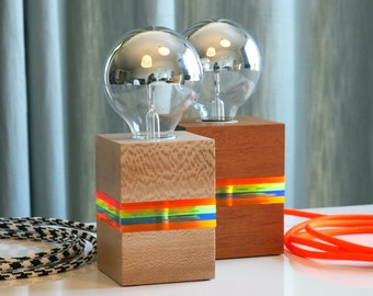 Lit Lamp - A Modern Table Lamp Made of Wood and Fluorescent Neon Acrylic