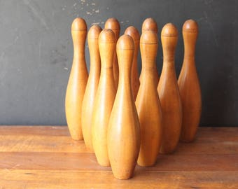 Antique Wooden Bowling Pins, Ten Pins, Antique French Skittles Game, Vintage Games