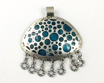 1 dots pendant enamel and  silver tone,57mm x 67mm #PEN 136