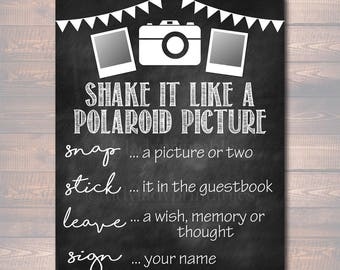 Photo Guestbook Sign, Printable Sign, Shake it like a polaroid picture, INSTANT DOWNLOAD, Graduation Party, Wedding Party, Photobooth Sign