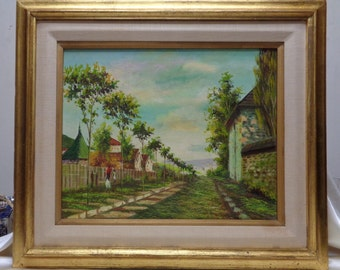 Beautiful Vintage Row of Trees Landscape Oil Painting w. Gold Antique Wood Frame