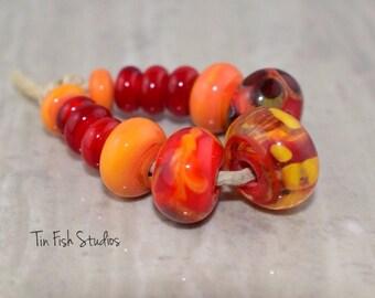 Red and Orange Handmade Soft Glass 13 Bead Set