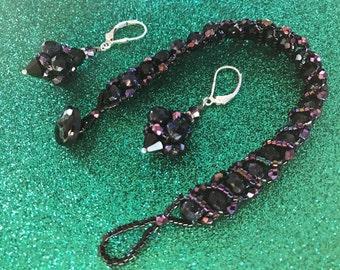 Blue Goldstone, Beaded Bracelet & Earrings Set (S12)