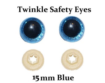 15mm Safety Eyes Blue Twinkle with Round Pupil (One Pair)