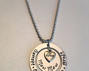 MawMaw Personalized Hand Stamped Necklace Grandchildrens names Grandma Grandparent Grandmother heart charm