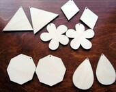 10 x plain birch wooden shapes for jewelry earrings making flower, diamond, triangle, teardrop laser cut tags crafts decoupage Free postage