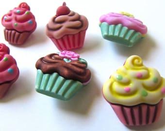 6 cupcake buttons fofuchas , fofupen & 3d foam art, appliques, embellishments